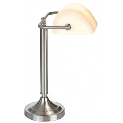 LAMPARA DE OFICINA CROMADA CON TULIPA BLANCA H.37 A.25 cm-1xE27 40w